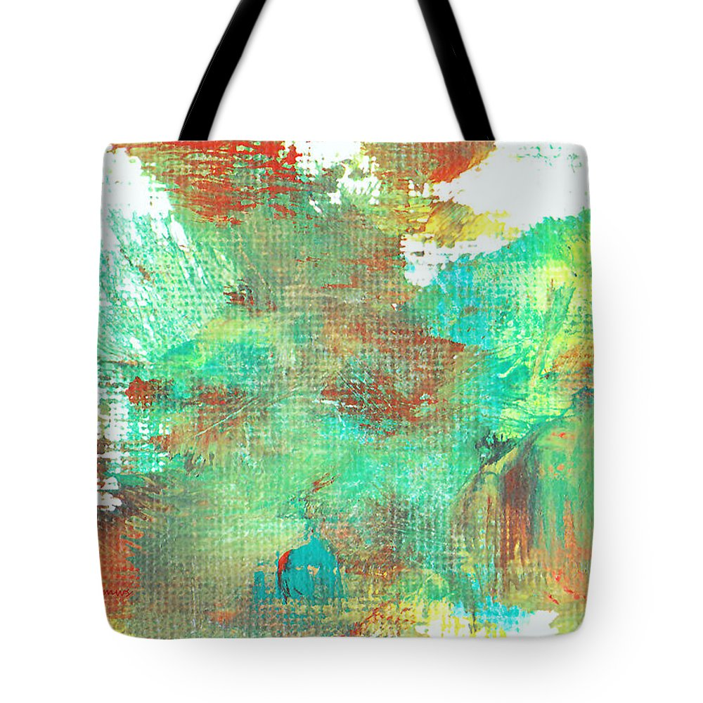 Abstract Tote Bag featuring the painting Waging Battle by Maura Satchell