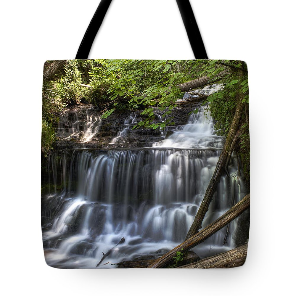 Water Tote Bag featuring the photograph Wagner Falls by Scott Wood