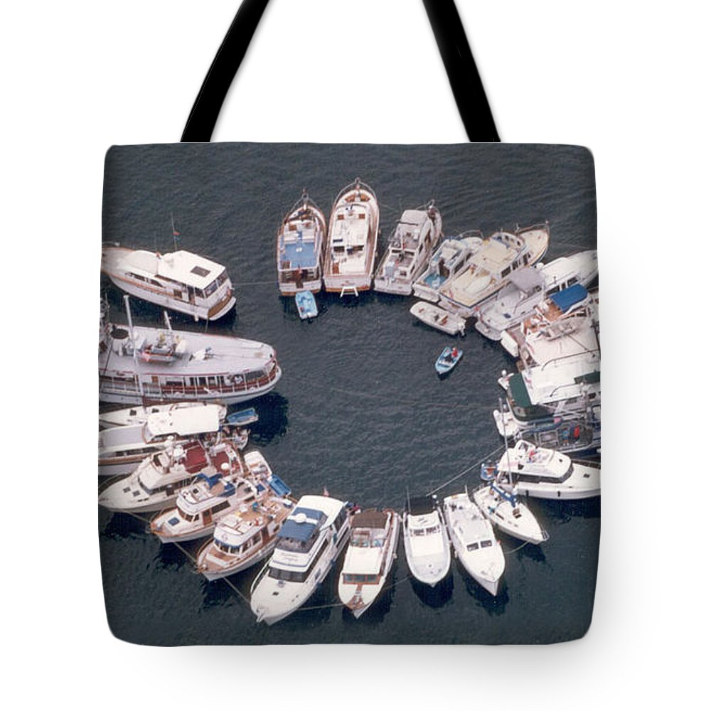 Yacht Portraits Tote Bag featuring the photograph Wagonwheel Wedding Raftup by Jack Pumphrey