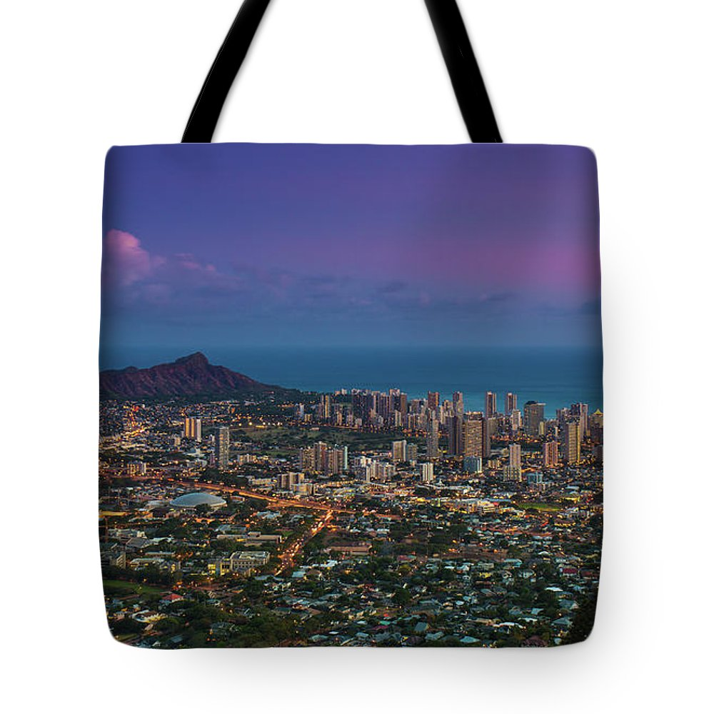 Tranquility Tote Bag featuring the photograph Waikiki And Diamond Head At Sunset by J. Andruckow