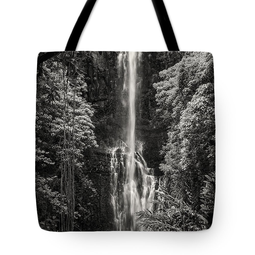 Wailua Falls Road To Hana Maui Hawaii Waterfall Waterfalls Water Landscape Landscapes Tree Trees Vine Vines Fern Ferns Nature Waterscape Waterscapes Black And White Sepia Tote Bag featuring the photograph Wailua Falls 3 by Bob Phillips