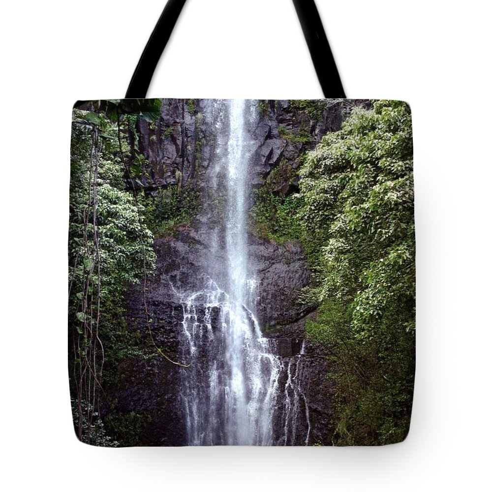 Scenic Tote Bag featuring the photograph Wailua Falls Maui by DJ Florek
