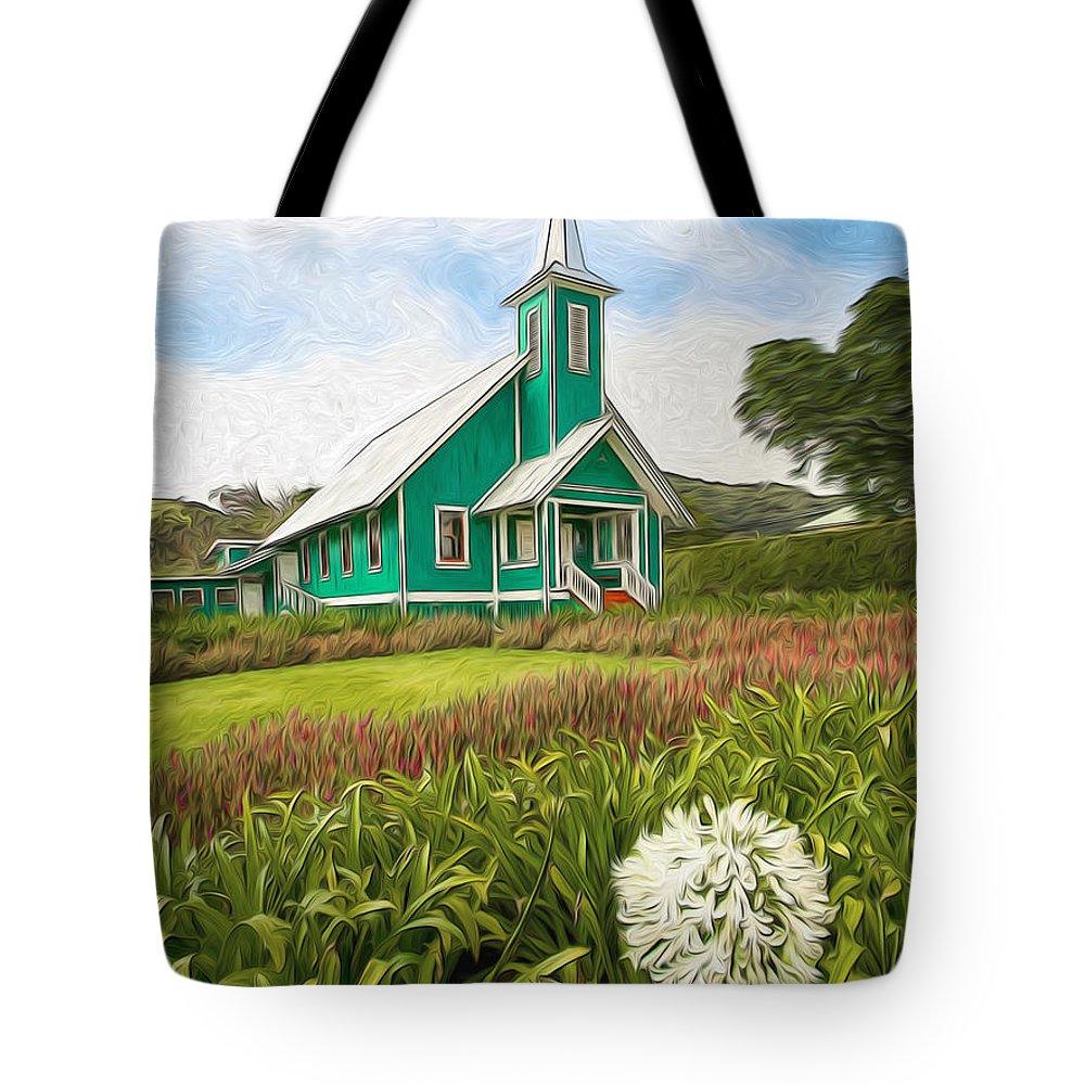 Dan Sabin Church Row Tote Bag featuring the photograph Waimea Church by Dan Sabin