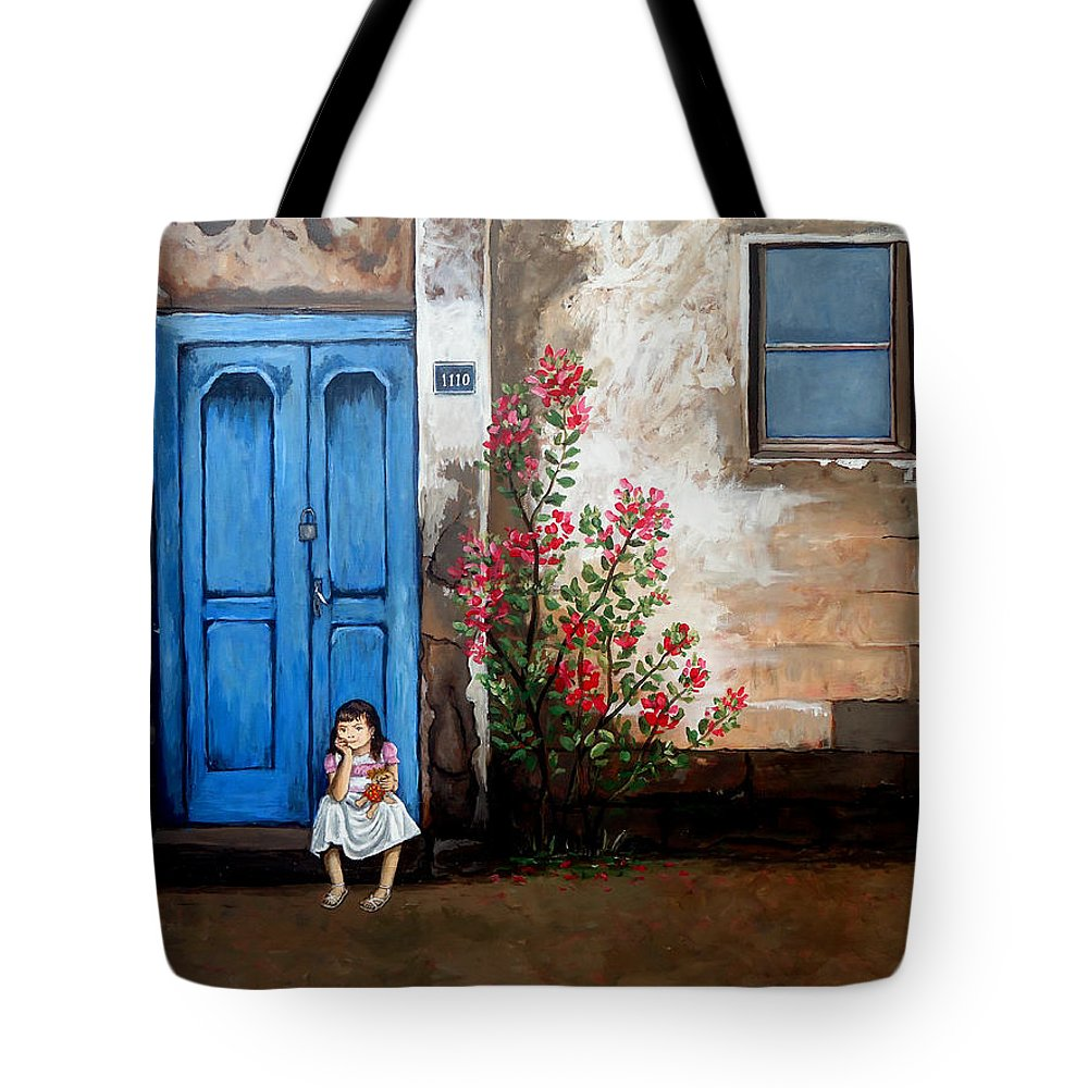 Waiting Tote Bag featuring the painting Waiting For Dad by Amani Al Hajeri