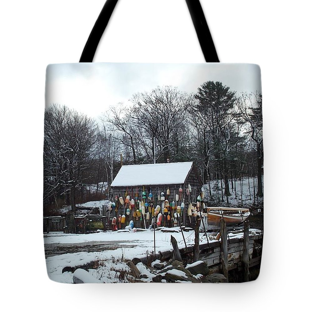 john Hancock Shack Tote Bag featuring the photograph Waiting For Lobster by Barbara McDevitt