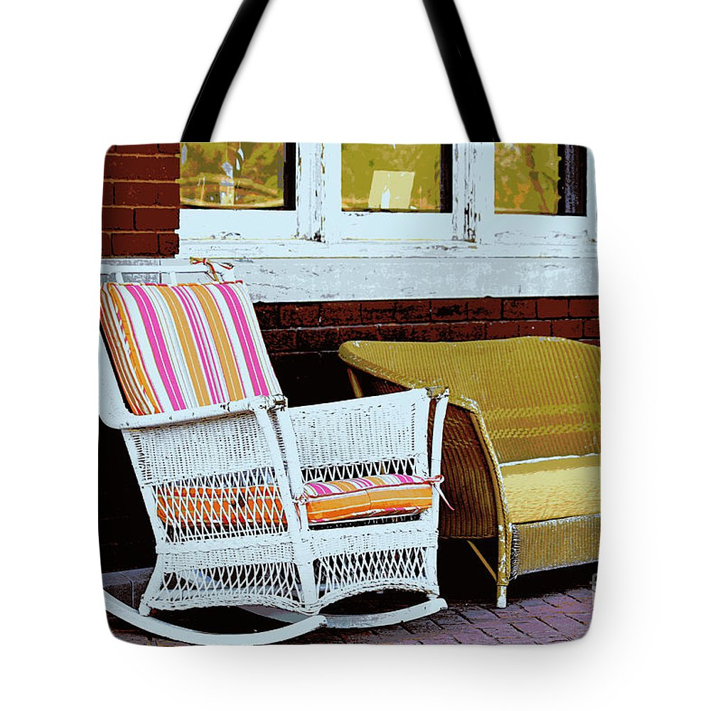 Wicker Tote Bag featuring the photograph Waiting For The Train by Catherine Sherman