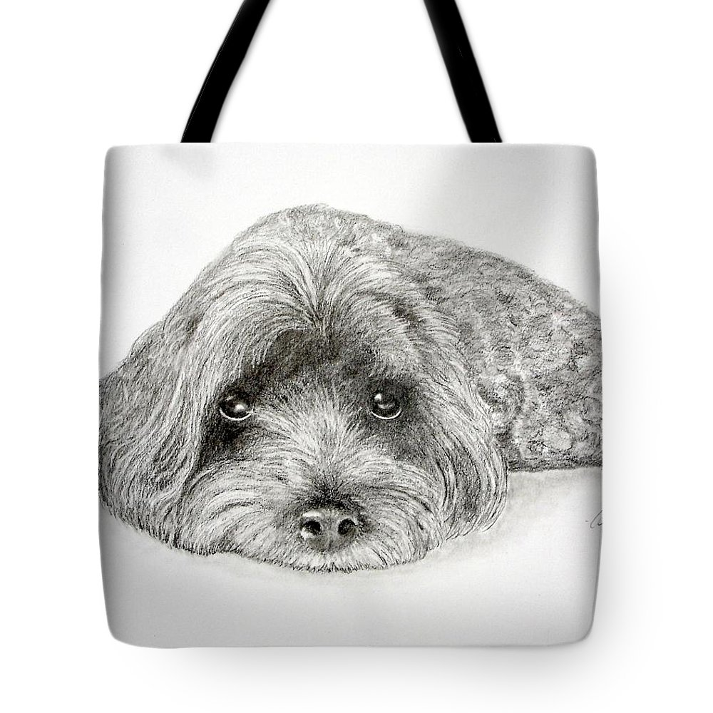 Dog Tote Bag featuring the drawing Waiting For You by Chris Fraser