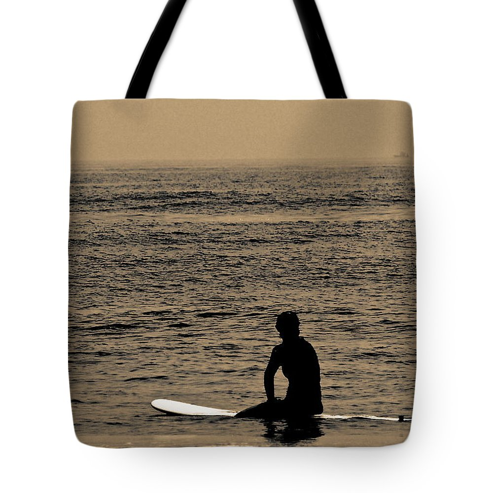 Surfer Tote Bag featuring the photograph Waiting by Tom Gari Gallery-Three-Photography