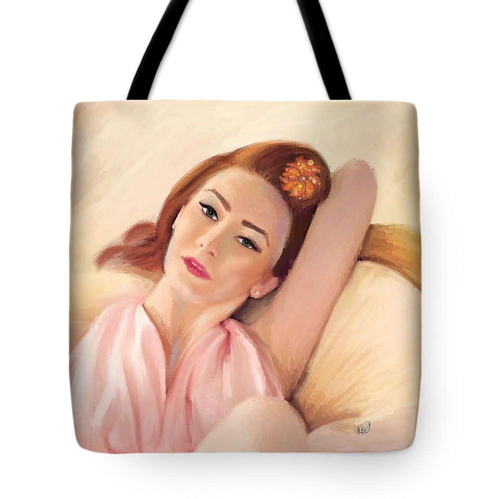 Glamour Tote Bag featuring the painting Waiting Glamour by Angela Stanton