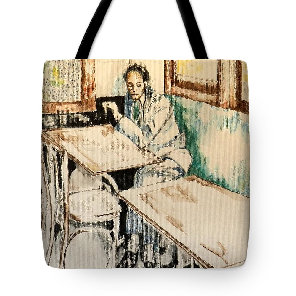 Cafe Scene Tote Bag featuring the drawing Waiting by Jolante Hesse