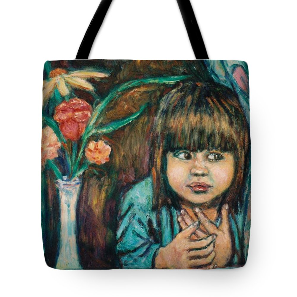 Young Girl Tote Bag featuring the painting Waiting by Kendall Kessler