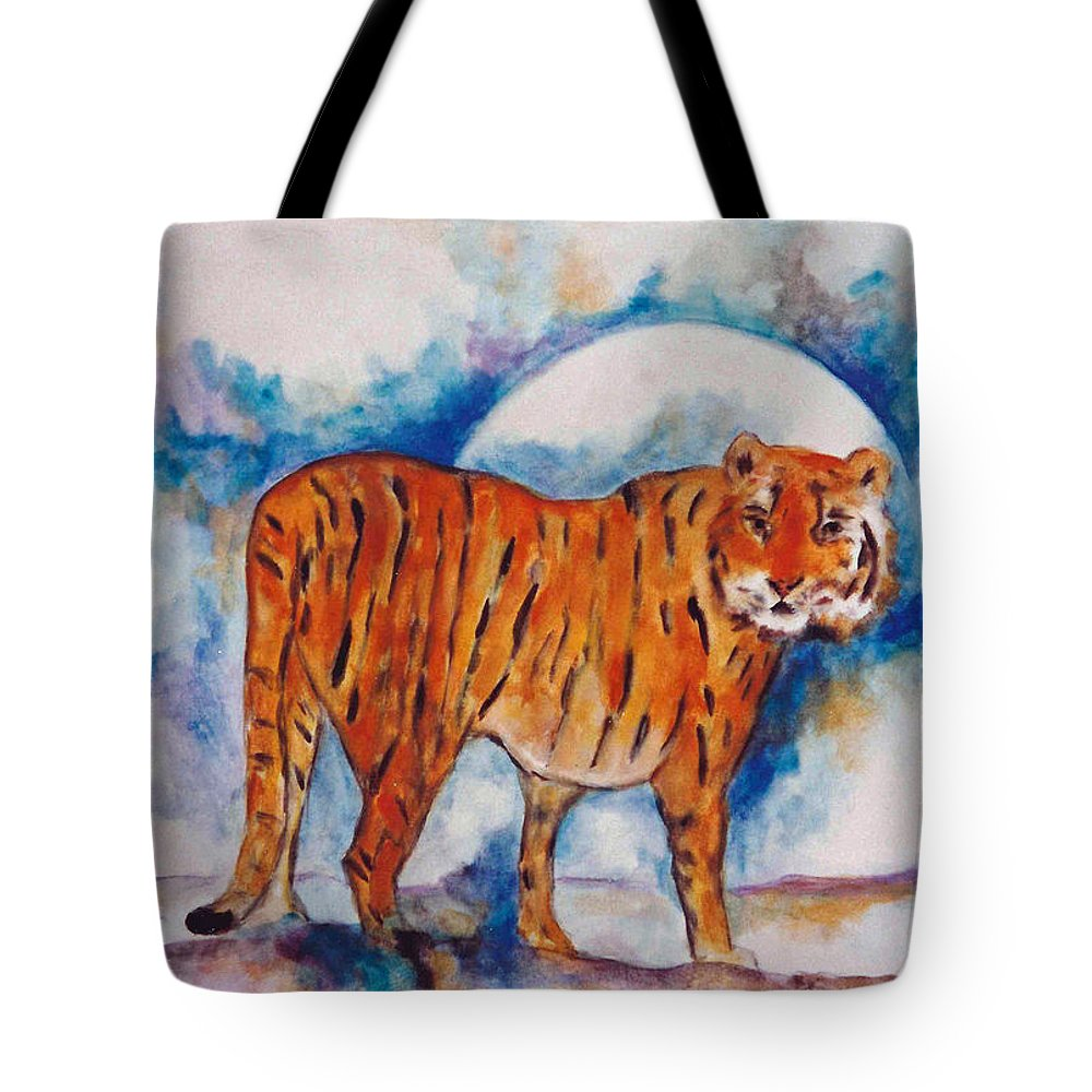 Moon Tote Bag featuring the painting Waiting On The Moon by Lord Frederick Lyle Morris - Disabled Veteran