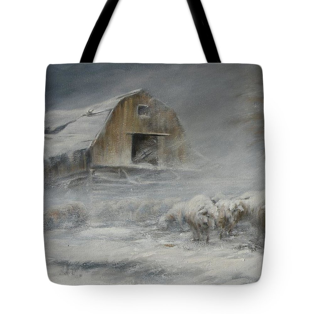 Sheep Tote Bag featuring the painting Waiting Out The Storm by Mia DeLode
