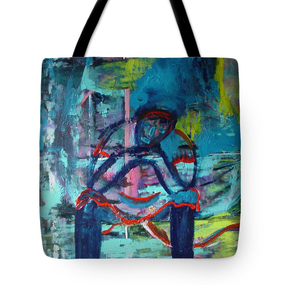 Woman On Bench Tote Bag featuring the painting Waiting by Peggy Blood