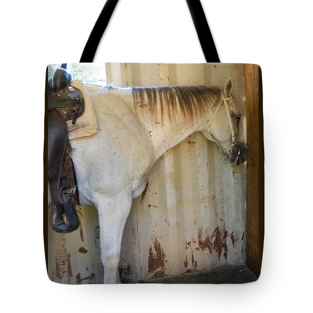 Horse Tote Bag featuring the photograph Waiting To Ride by Kathy Barney