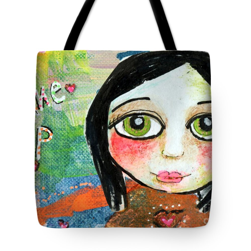 Girl Tote Bag featuring the mixed media Wake Up by AnaLisa Rutstein