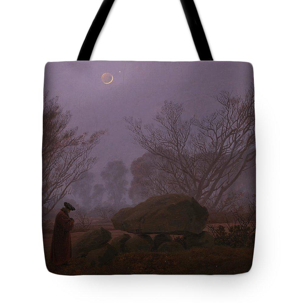 Caspar David Friedrich Tote Bag featuring the painting Walk At Dusk by Caspar David Friedrich