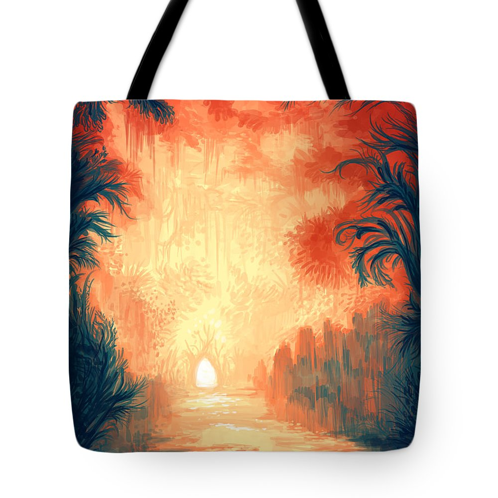 Outdoors Tote Bag featuring the digital art Walk Away by Illustrations By Annemarie Rysz