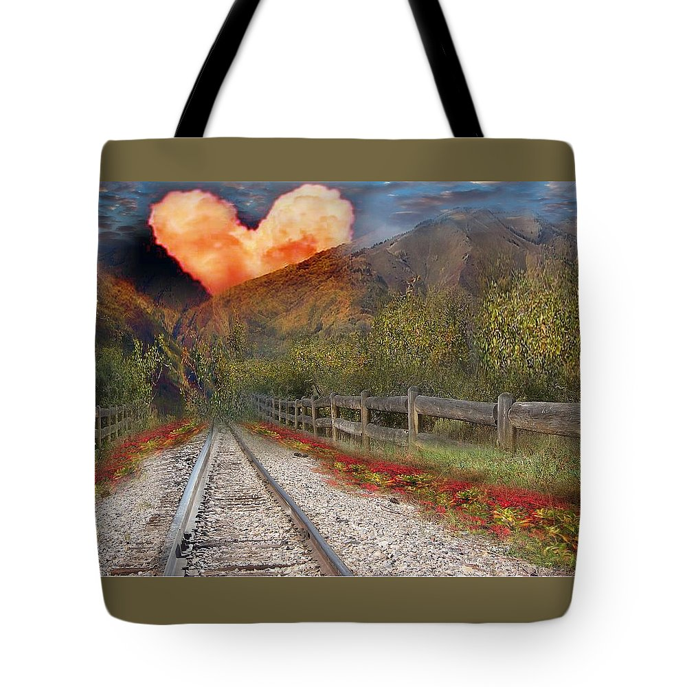 Railroad Tracks Tote Bag featuring the digital art Walk In Love by Jewell McChesney