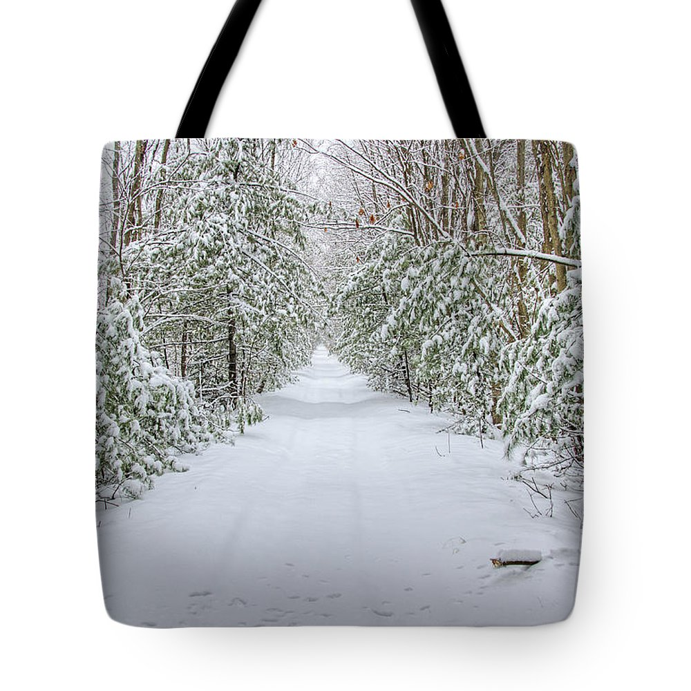 Snow Tote Bag featuring the photograph Walk In Snowy Woods by Donna Doherty