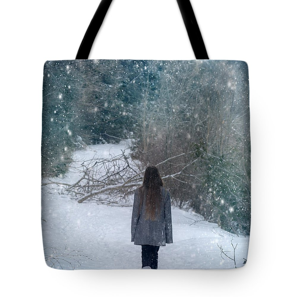 Girl Tote Bag featuring the photograph Walk In The Snow by Joana Kruse