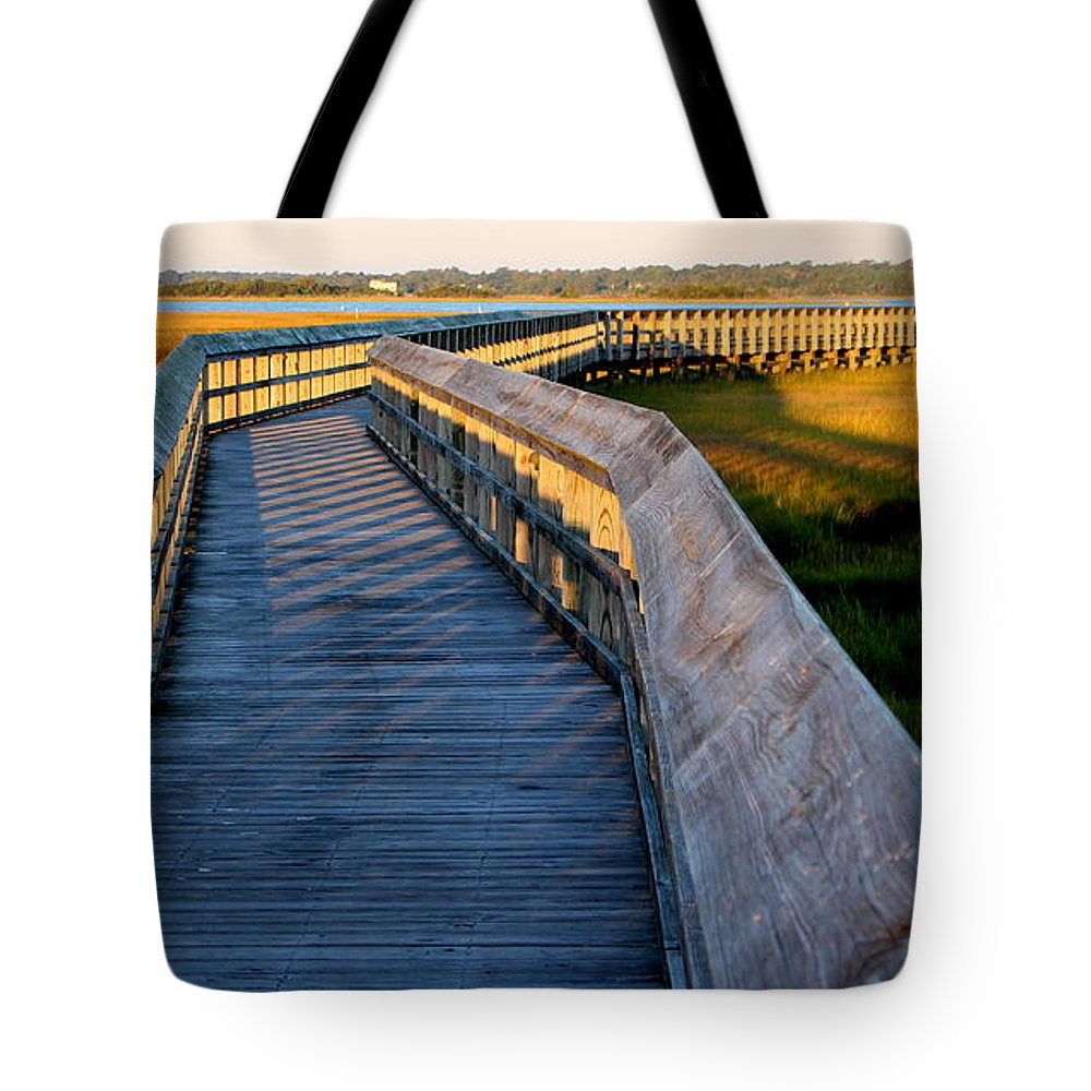 Topsail Tote Bag featuring the photograph Walk Into The Sound by Rand Wall