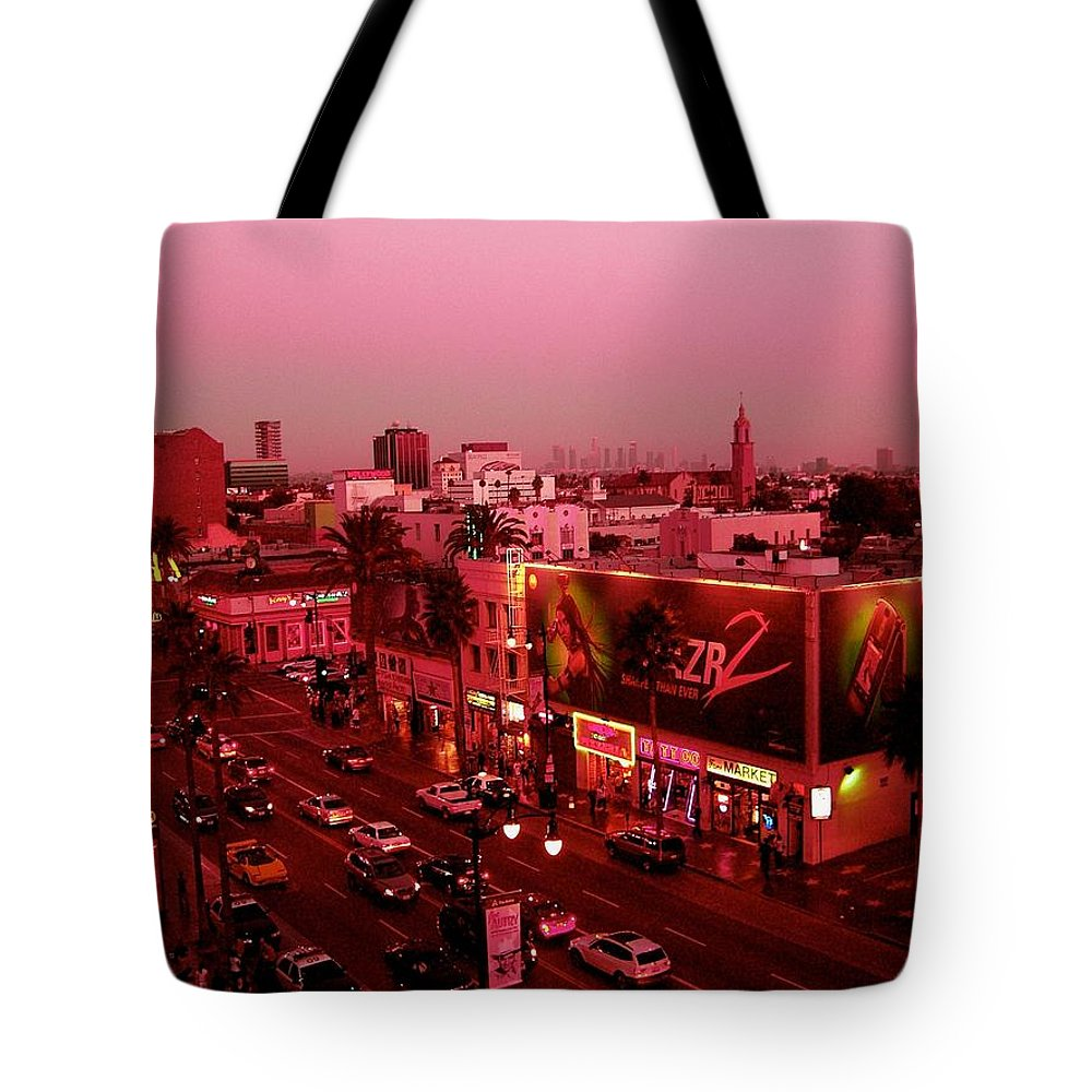 Hollywood Prints Tote Bag featuring the photograph Walk Of Fame In Pink by Monique's Fine Art