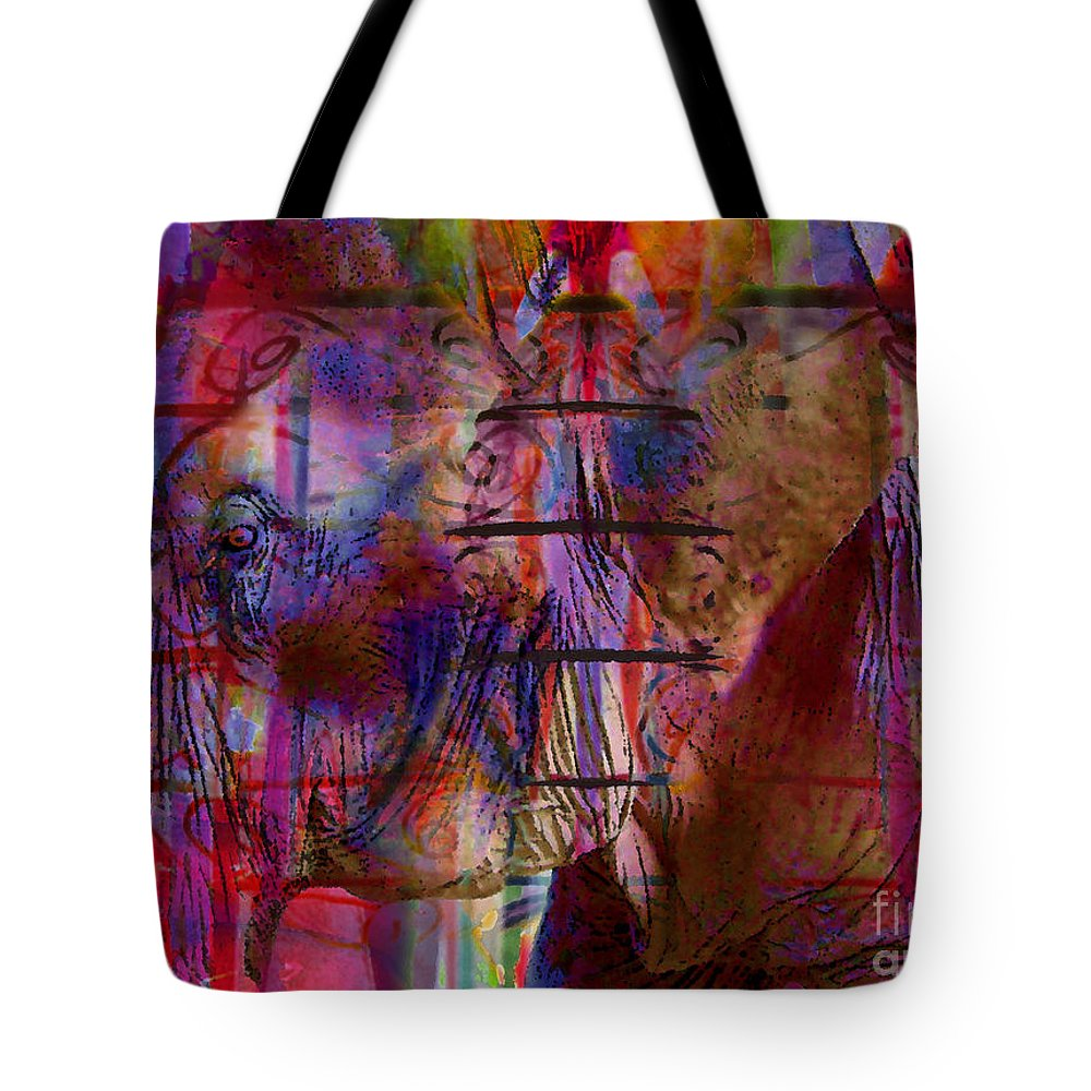 Elephant Tote Bag featuring the digital art Walk On The Wild Side by Nola Lee Kelsey
