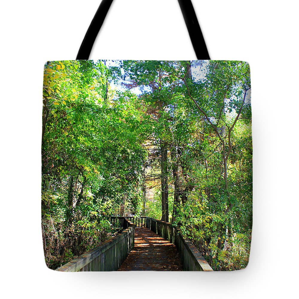 Cross Lake Tote Bag featuring the photograph Walk This Way by Kathy White