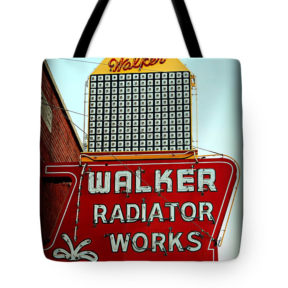Sign Tote Bag featuring the photograph Walker Radiator Works Sign by Stephen Stookey