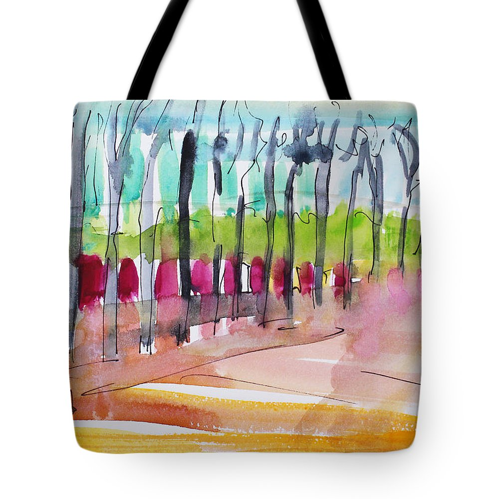 Watercolor Tote Bag featuring the painting Walking Along The Street by Becky Kim