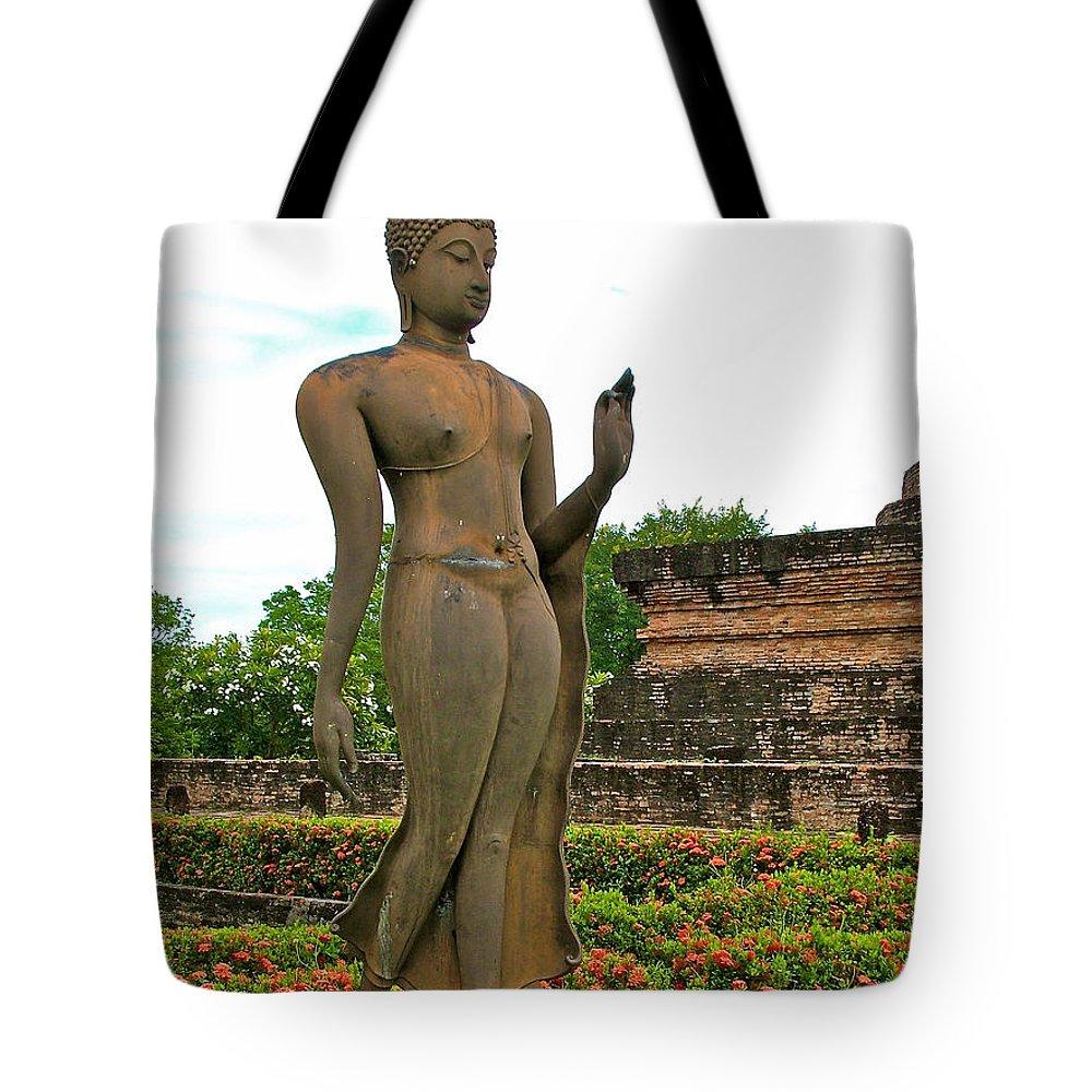 Walking Buddha Image At Wat Sa Si In 13th Century Sukhothai Historical Park Tote Bag featuring the photograph Walking Buddha Image In Wat Sa Si In Sukhothai Historical Park-t by Ruth Hager