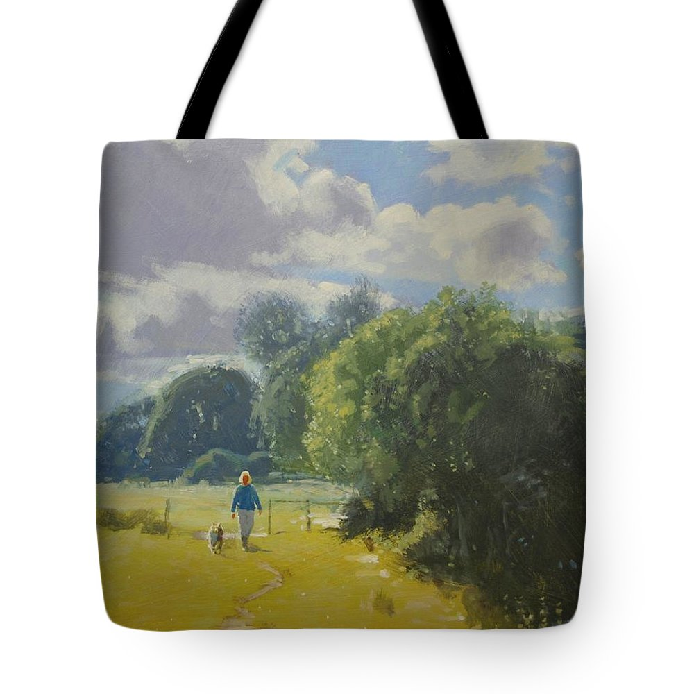 River Tote Bag featuring the painting walking down by Borth River by Derek Williams