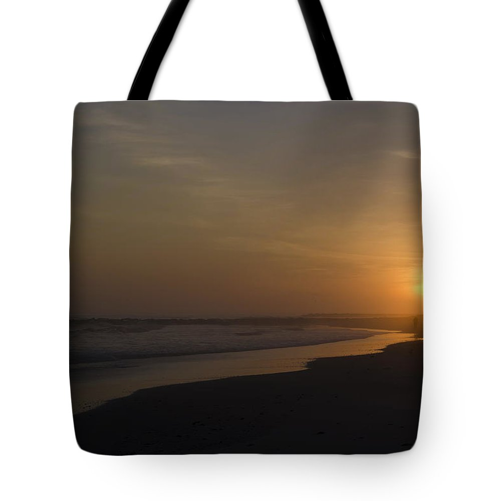 Walking Tote Bag featuring the photograph Walking Down The Beach by Bill Cannon