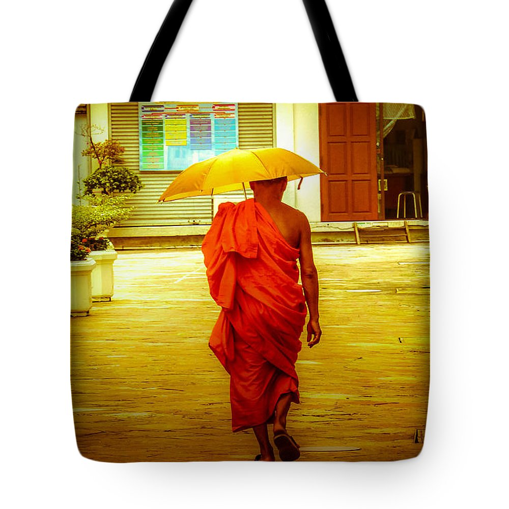 Monk Tote Bag featuring the photograph Walking In The Sun by Allan Rufus
