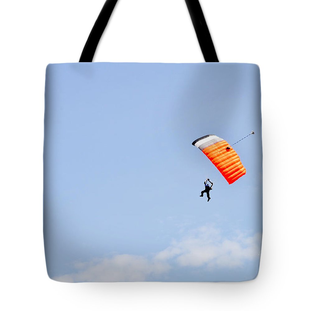 Skydiving Tote Bag featuring the photograph Walking On Air by Cheryl McClure