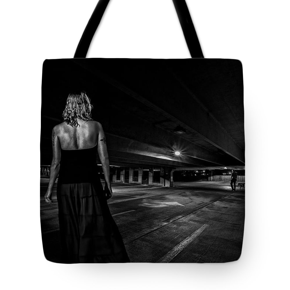 Afterdark Tote Bag featuring the photograph Walking The Dog by Bob Orsillo