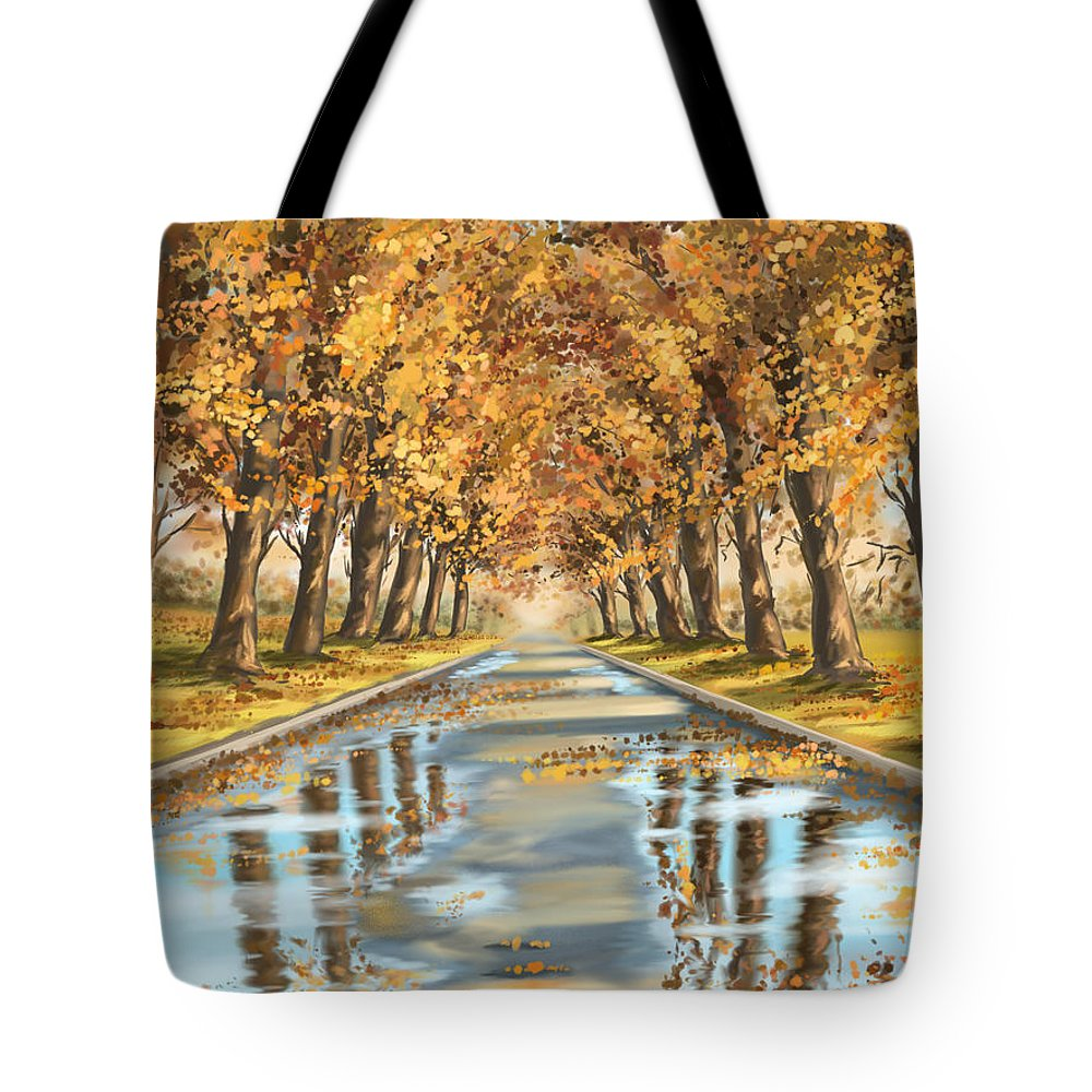 Autumn Tote Bag featuring the painting Walking by Veronica Minozzi