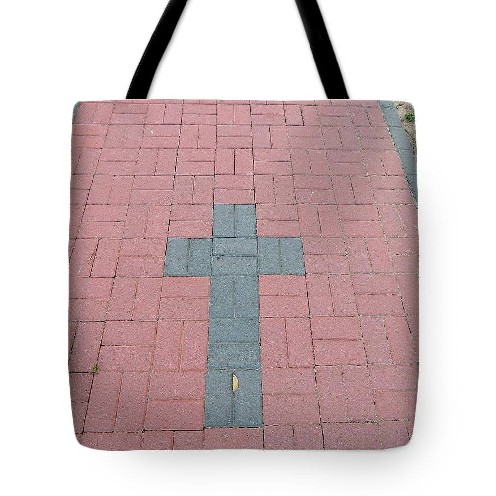Cross Tote Bag featuring the photograph walkway of Faith by Aaron Martens
