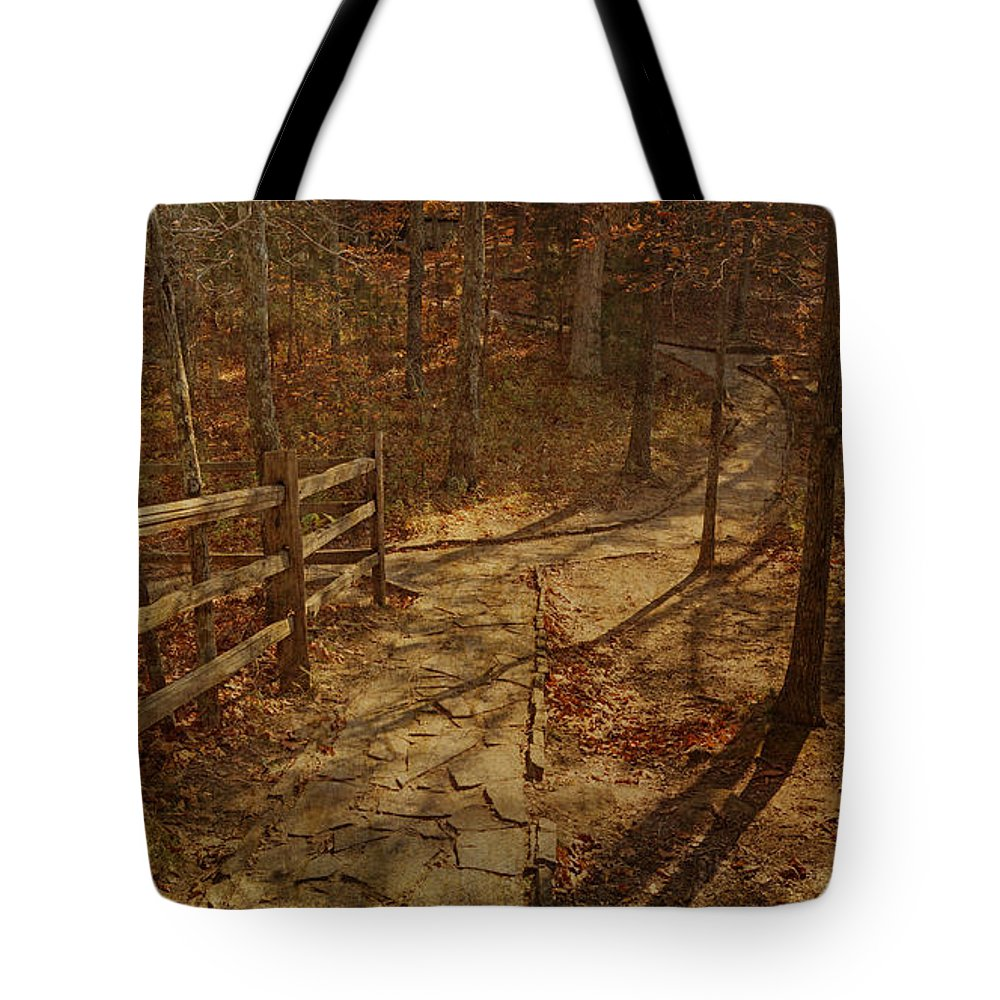 Shawnee National Forest Tote Bag featuring the photograph Walkway Through The Forest by Sandy Keeton