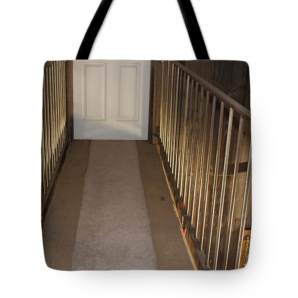 Sandra Lee Hartsell Tote Bag featuring the photograph Walkway Upstairs by Lee Hartsell