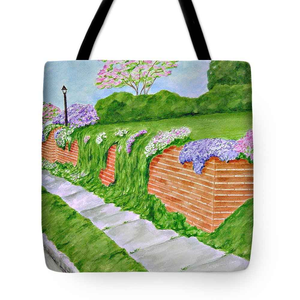 Landscape Tote Bag featuring the painting Wall Of Flowers by Regan J Smith