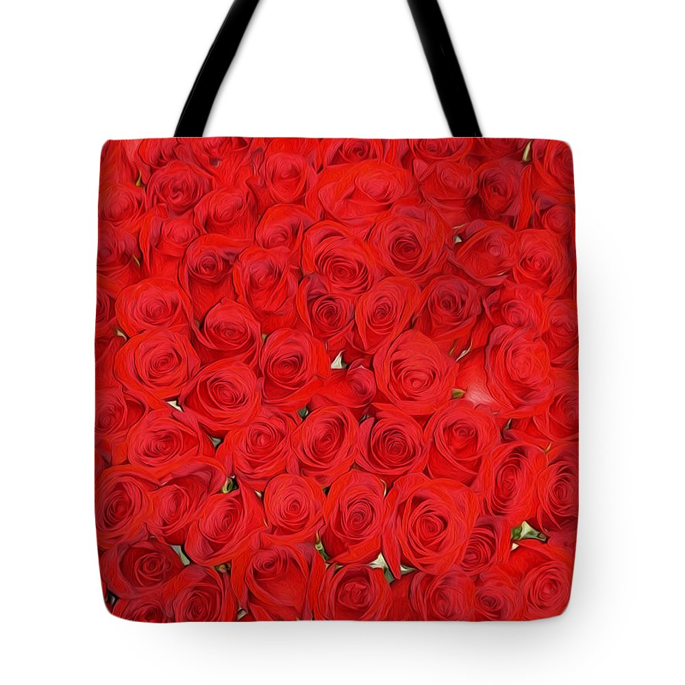 Red Roses Tote Bag featuring the photograph Wall Of Red Roses by Tracy Winter