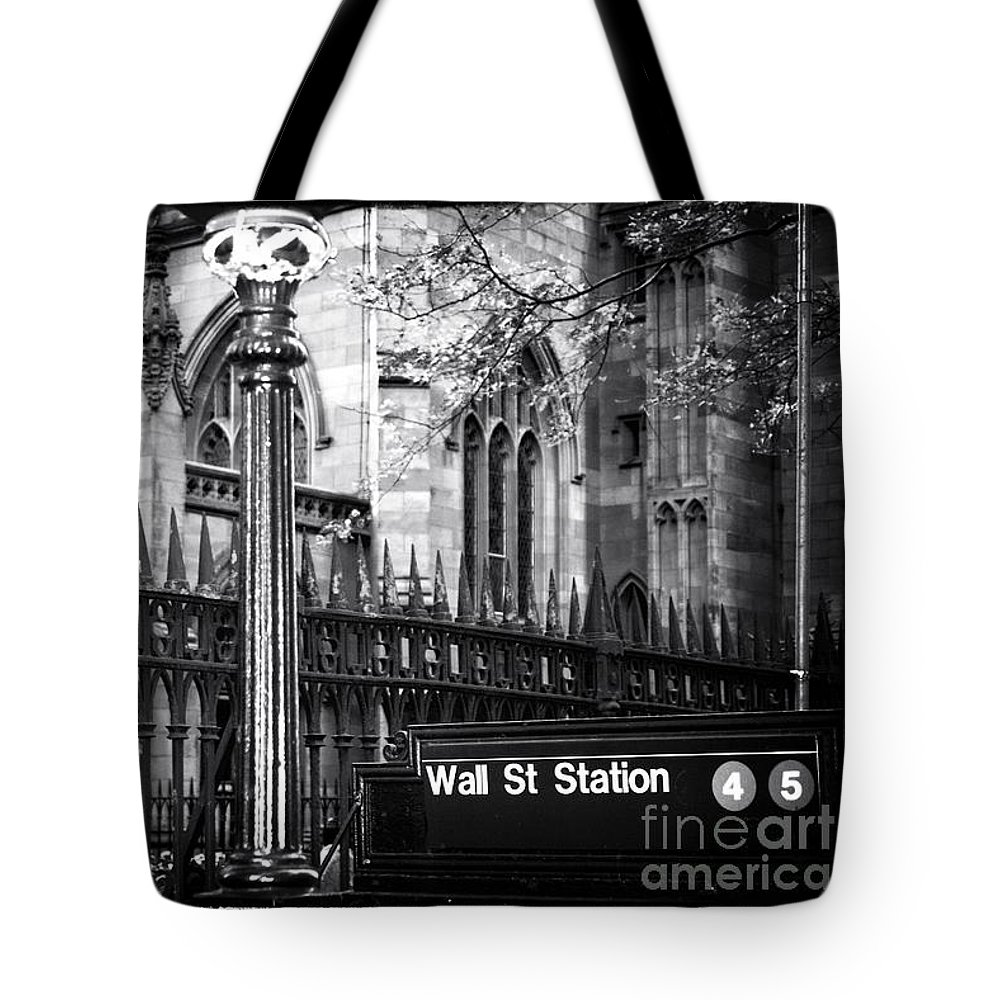 Wall St Station Tote Bag featuring the photograph Wall St Station by John Rizzuto