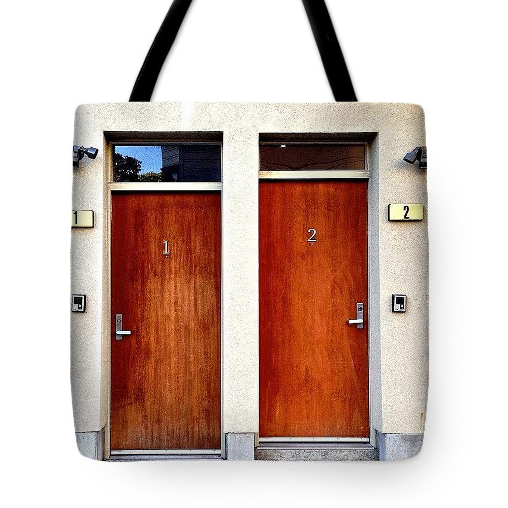 Ic_doors Tote Bag featuring the photograph 1 And 2 by Julie Gebhardt