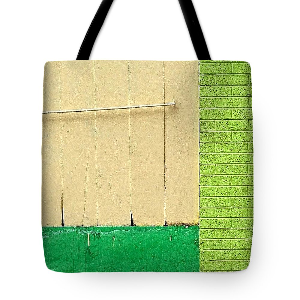 Mla_mnml Tote Bag featuring the photograph Yellow Green Color Block by Julie Gebhardt