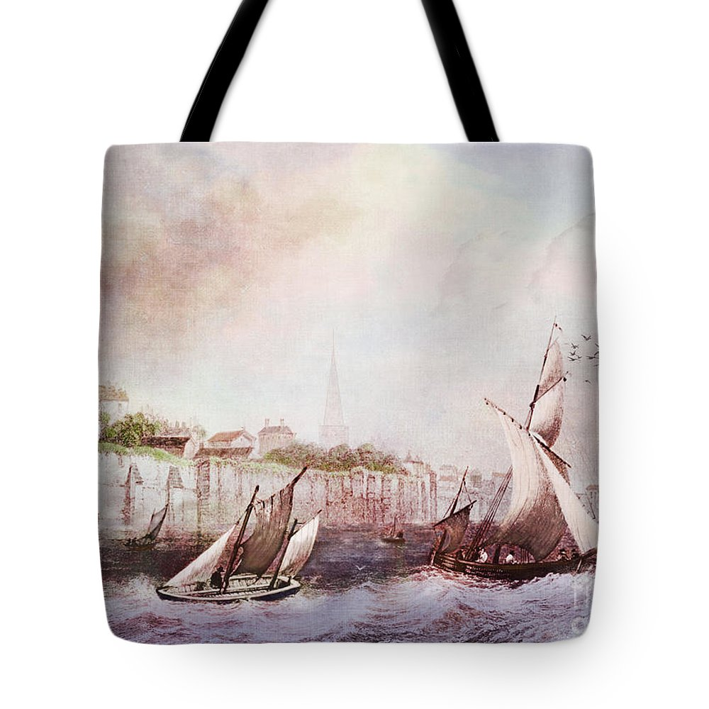 Seascapes Tote Bag featuring the digital art Walls Of Southampton by Lianne Schneider