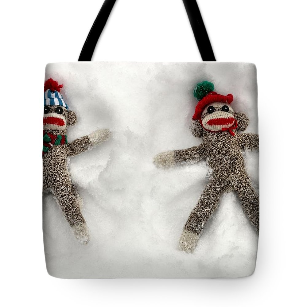 Wally Tote Bag featuring the photograph Wally And Petey Snow Angels by Jennifer Wheatley Wolf
