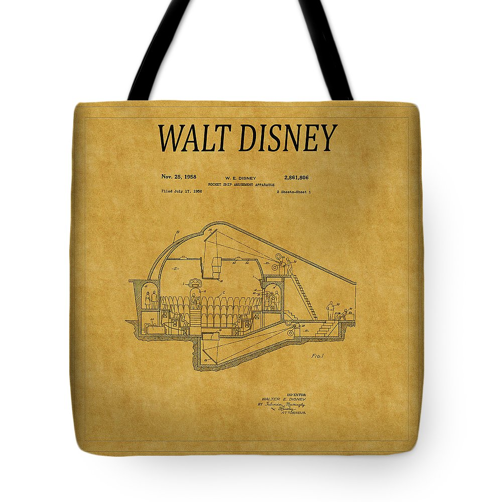 Disney Tote Bag featuring the photograph Walt Disney Patent 5 by Andrew Fare