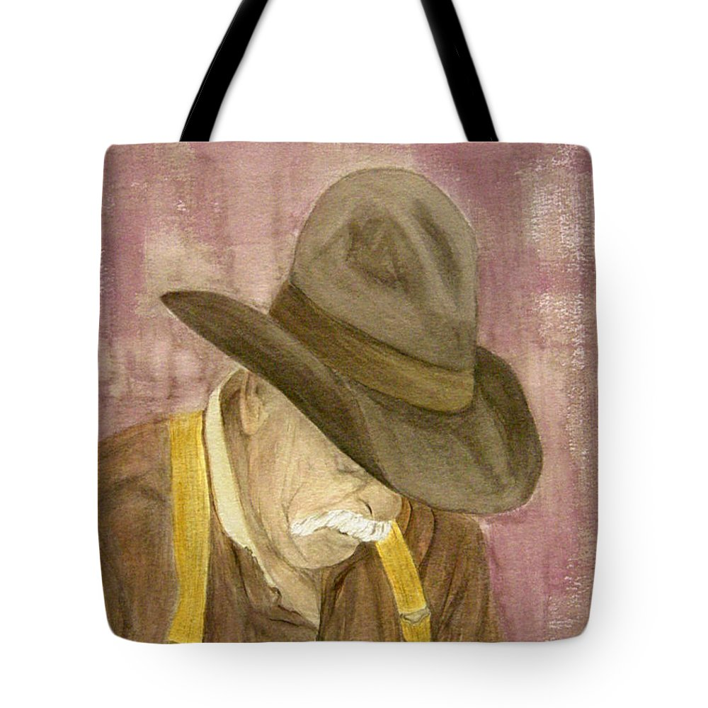 Western Tote Bag featuring the painting Walter by Regan J Smith